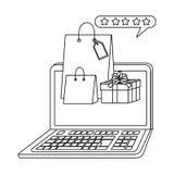 Shopping online icon design. Laptop design, Store shopping online ecommerce media market and internet theme Vector illustration vector illustration