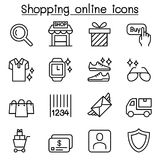 Shopping online icon set in thin line style vector illustration