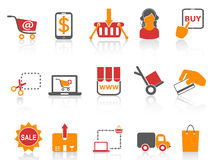 Shopping online icons orange series Royalty Free Stock Photography