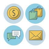 Shopping online icons. Icon vector illustration graphic dsign Royalty Free Stock Photo