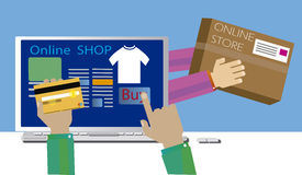 Shopping online with immediate shipping Royalty Free Stock Image