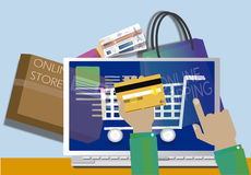 Shopping online with immediate shipping Stock Images