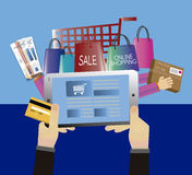 Shopping online with immediate shipping Stock Photography