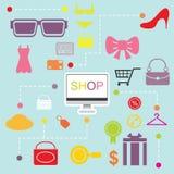 Shopping online infographics flatten design Stock Images