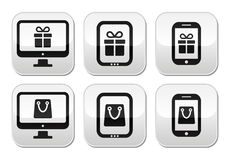 Shopping online, internet shop buttons set Stock Image