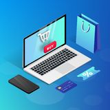 Shopping Online laptop blue isometric illustration vector illustration