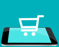 Shopping online through the mobile phone Stock Image