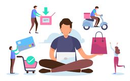 Shopping online process. Solution marketing concept. Digital payment. Flat cartoon miniature character. Vector illustration design royalty free stock photo