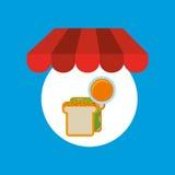 Shopping online sandwich orange Royalty Free Stock Photos