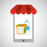 Shopping online sandwich Royalty Free Stock Photo