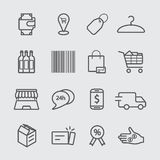 Shopping and online shopping line icon Royalty Free Stock Photos