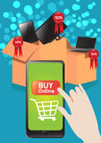 Shopping Online with Smart Phone. Vector design E-commerce Shopping Online sale price Royalty Free Stock Photos