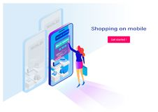 Shopping online with smartphone. Flat cartoon miniature. background presentation. Vector graphic Stock Image