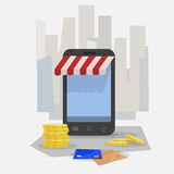 Shopping online. Smartphone Royalty Free Stock Image