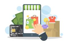 Shopping online with smartphone. Stock Photos