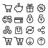 Shopping, online store icons set- line, stroke style Royalty Free Stock Photography