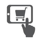 Shopping Online with Tablet PC. Hand pointing to shopping chart on screen. Flat vector icon illustration EPS 10 Stock Photography
