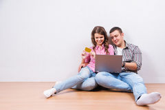 Shopping online together. Royalty Free Stock Image