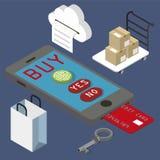 Shopping online. Use fingerprint isometric Stock Images