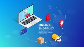 Shopping Online isometric laptop illustration Concept stock illustration