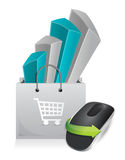 Shopping online. Wireless computer mouse Stock Photo
