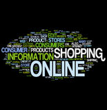 Shopping online word cloud stock images