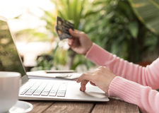 Shopping online. Young woman shopping online at home. business and modern lifestyle concept. selective focus Stock Photos
