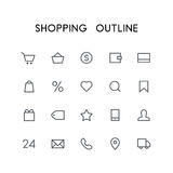Shopping outline icon set Royalty Free Stock Images
