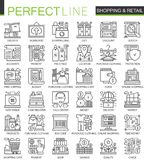 Shopping outline mini concept symbols. E-commerce retail modern stroke linear style illustrations set. Perfect thin line Stock Photos