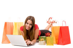 shopping over internet Stock Images