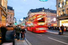 Shopping at Oxford street, London, Christmas day. In London 2017 Royalty Free Stock Photography