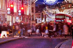 Shopping at Oxford street, London, Christmas day. In London 2017 Royalty Free Stock Image