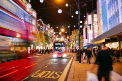 Shopping at Oxford street, London, Christmas day. In London 2017 Royalty Free Stock Images