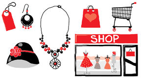 Shopping pack 01. Vector shopping elements for designers Royalty Free Stock Photography