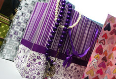Shopping packets and glamour accessories Stock Photography