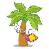 Shopping palm tree character cartoon Royalty Free Stock Photos