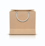 Shopping paper bag. Vector illustration of paper shopping paper bag with rope handles isolated on white background Stock Image
