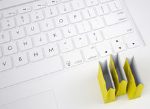 Shopping paper bags on the keyboard Royalty Free Stock Photography