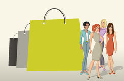 Shopping paper bags and pretty women Stock Image
