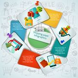 Shopping Paper Infographics royalty free illustration