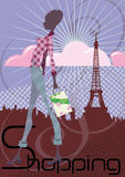 Shopping in Paris royalty free illustration