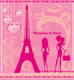 Shopping In Paris, Beautiful pink abstract card Royalty Free Stock Images