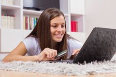 Shopping Paying Online Young Woman Royalty Free Stock Photo