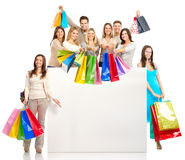 Shopping people. Happy shopping people. Isolated over white background Royalty Free Stock Image