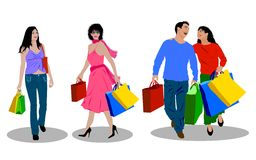 Shopping people stock illustration
