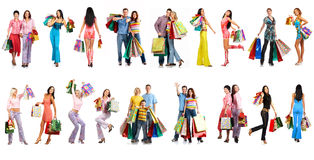Shopping people. Shopping smiling people. Isolated over white background stock photos