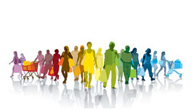 Shopping people. Colorful crowd of shopping people. Happy people holding shopping bags Stock Images