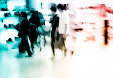 Shopping people crowd blur. City shopping people crowd at marketplace shoe shop abstract background Stock Photo