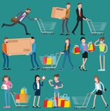 Shopping people icons. Flat  design shopping people icons, man and woman, various characters and professions, with shopping carts, bags and boxes,  vector Stock Images