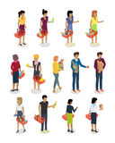 Shopping People Isometric Characters Vector Set. Shopping people vector illustrations set. Buying food and daily products isometric concepts isolated on white vector illustration